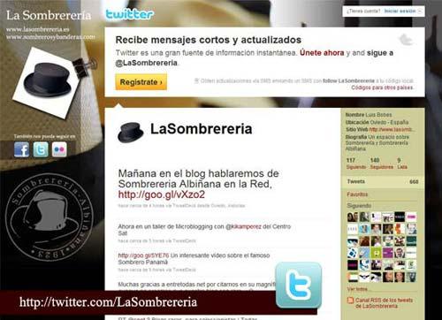Perfil de Sombrerería Albiñana en Twitter
