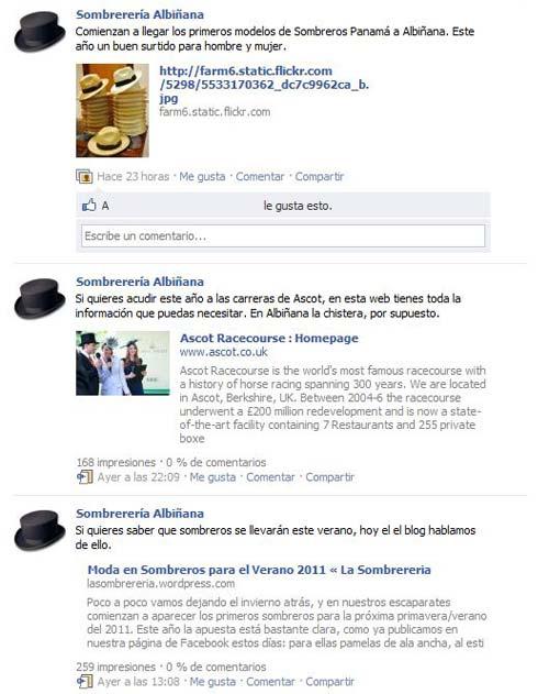 Página de Sombrerería Albiñana en Facebook