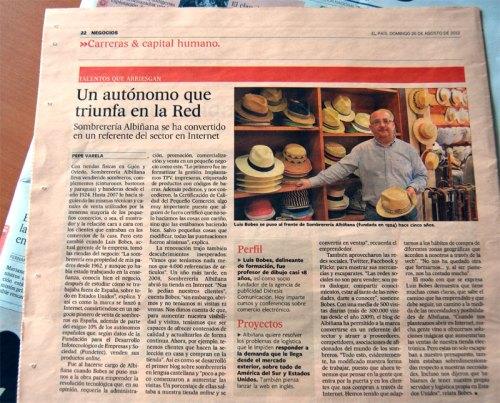 Sombrerería Albiñana en El País